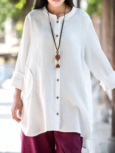 Women Cotton Blouses Casual Loose Solid Shirts Vintage Stand Collar Long Sleeve Blouse