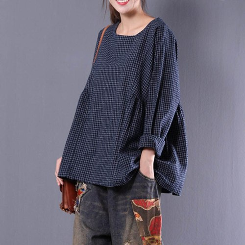 Women Long Sleeve Plaid Autumn Cotton Linen Casual Flounce Blouse Shirt