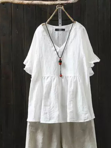 Summer Ruffle Tops Women's Linen Blouse V Neck Short Sleeve Female Shirts