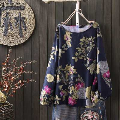 Women's Summer Floral Blouse Vintage Printed Tops Casual Long Sleeve Shirts