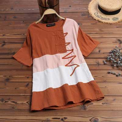 Casual Blouse Summer Women Short Sleeve Tunic Tops Patchwork Shirt