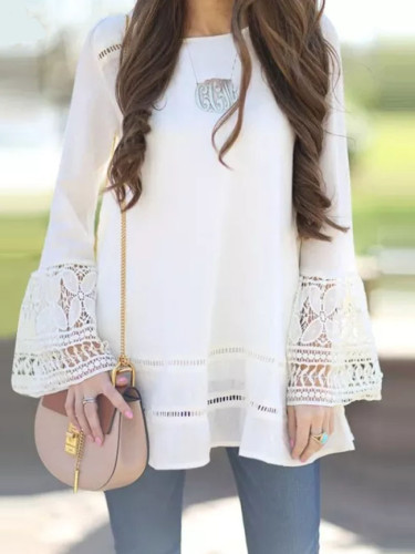 Fashion Spring Tops Women's Lace Stiching Blouses Flare Sleeve Shirts