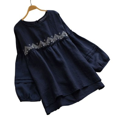 Embroidery Flowers Shirts Women Tops Long Sleeve O Neck Casual Baggy Tunic