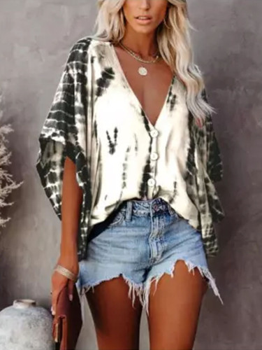 Casual Shirt Women Fashion Dry Print V-neck Loose Basic Tops Summer Blouses