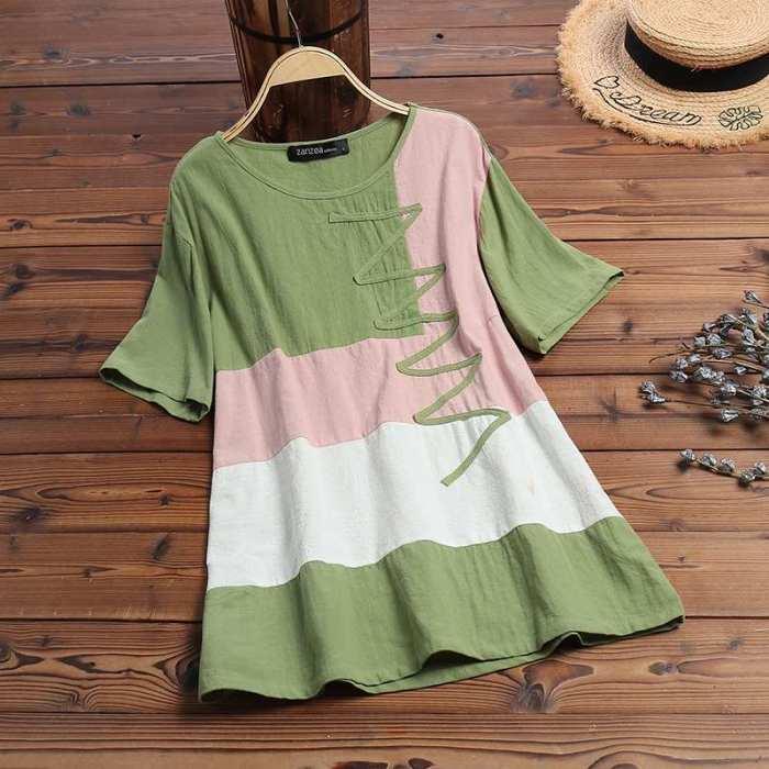 Casual Blouse Summer Women Short Sleeve Tunic Tops Patchwork Shirt