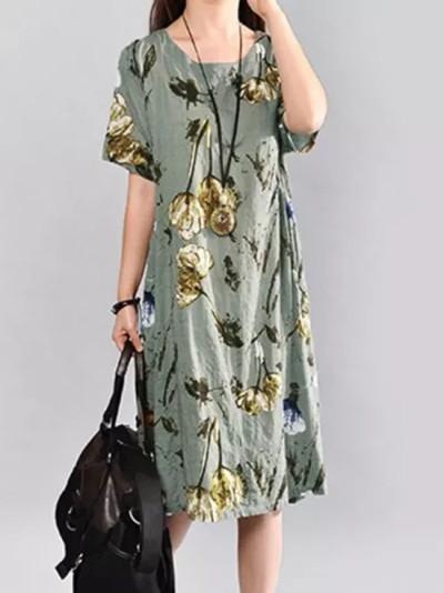 Bohemian Summer Dress Vintage Women Short Sleeve Elegant Floral Print Midi Sundress