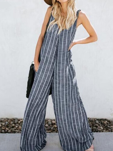 Jumpsuits Fashion V Neck Sleeveless Striped Romper Casual Wide Leg Overalls