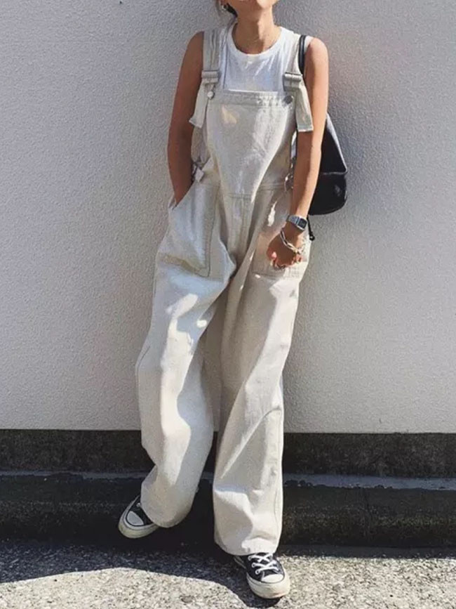 Pure White Jumpsuit Lazy Wind High Waist Oversize Wide Legs Trousers Jumpsuit