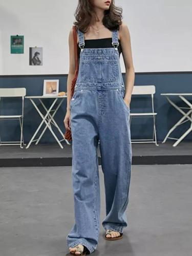 Women wide leg pants jumpsuits streetwear casual slim Rompers Japan style students