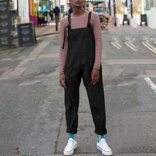 Women's Sleeveless Straps Corduroy Jumpsuits  Overalls Pocket Pants