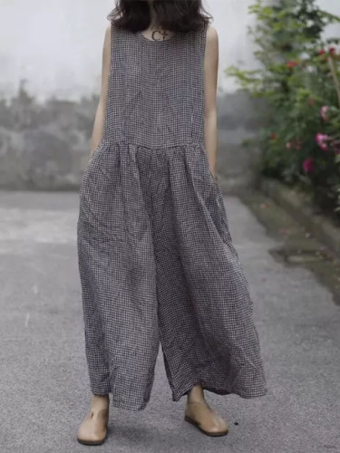 Summer Wide Leg Pants Women Sleeveless Tank Jumpsuit Plaid Overalls