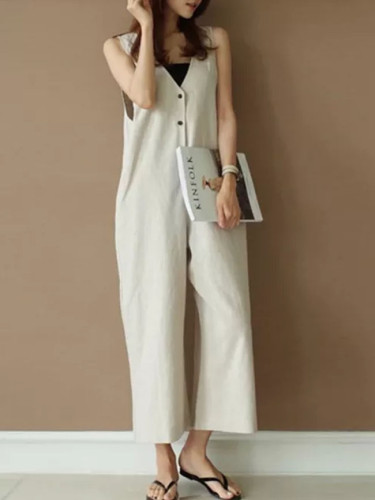 Summer New Temperament Commuter Sleeveless Pocket V-neck Jumpsuit