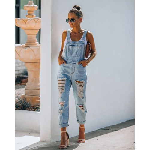 Fashion Denim Jumpsuits Hollow Out Design Pockets Sling Sleeveless Straight Jumpsuits