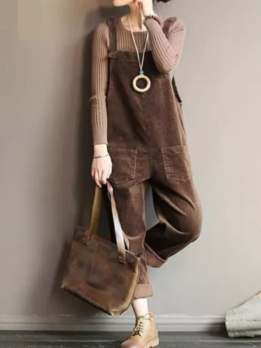 Corduroy Jumpsuits Women's Overalls Casual  Spring Suspender Button Playsuits