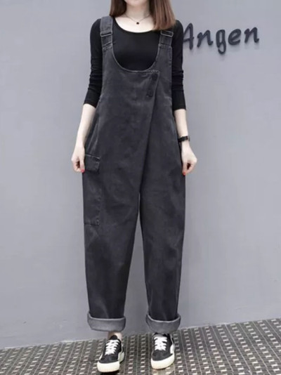 Womens Denim Jumpsuits Vintage Casual Overalls Strap Rompers