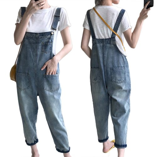 Casual Women Pockets Loose Suspender Denim Overall Trousers