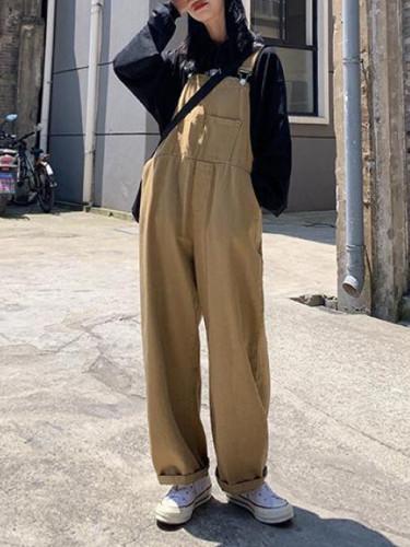 Elegant Solid Wide Leg Jumpsuits Women's Summer Pants Suspender Overalls