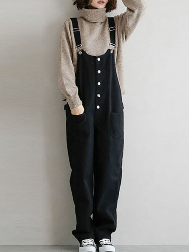 Autumn Casual Loose Jumpsuits Fashion Buttons Pockets Overalls Rompers