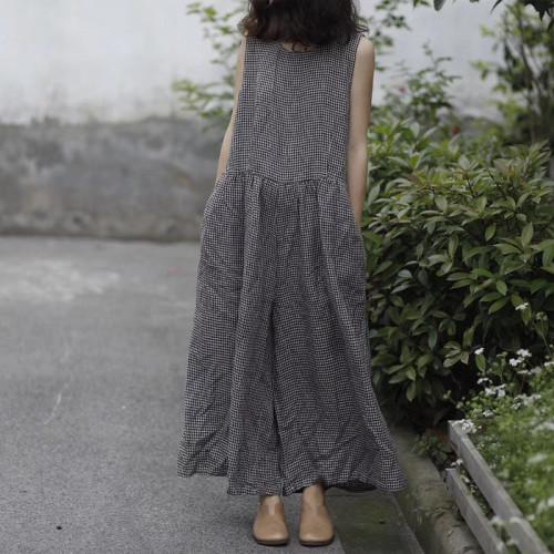 Summer Wide Leg Pants Women Sleeveless Tank Jumpsuit Plaid Overalls