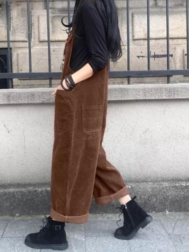 Vintage Corduroy Jumpsuits Women's Pants Casual Suspender Wide Leg Playsuits