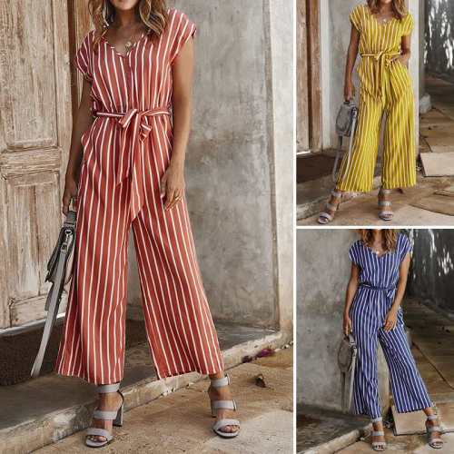 Summer Casual Women Wide Leg Pockets Lace-Up V Neck Striped Long Jumpsuits