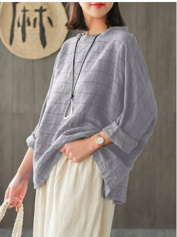 Women Blouse Casual Plaid Checked Shirt Spring Long Sleeve Loose Tops