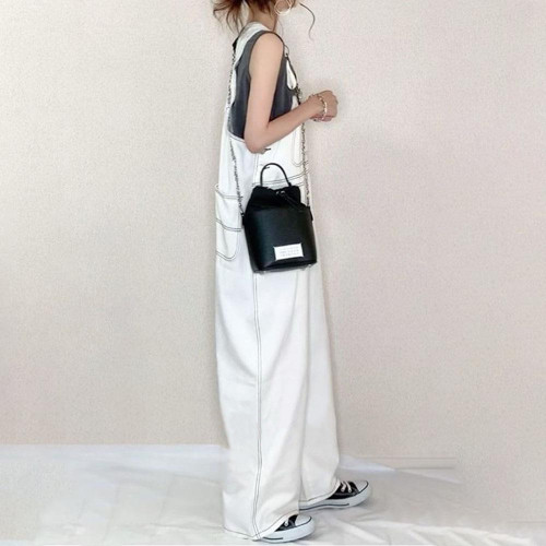 Summer White Denim Overalls Lazy Wind High Waist Ultra Loose Wide Leg Trousers Jumpsuit
