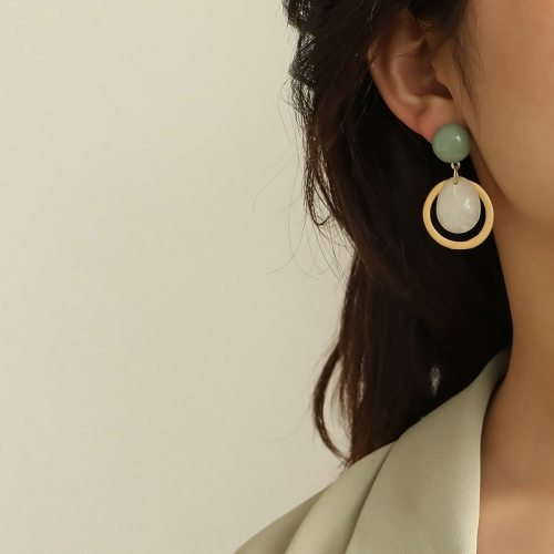 Geometric Round Pendant Drop Earrings For Women Simple Candy Color Earring