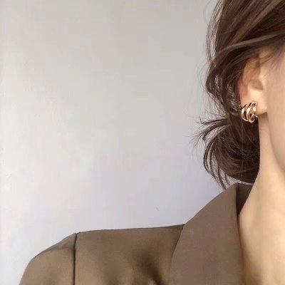 Trendy Metal Hoop Earring Woman Vintage Triple Open Circle Statement Earrings