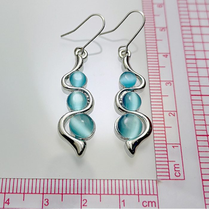 Fashion Beaded Earrings Blue Moonstone Dangle Long Silver Color Twist Hook Earring