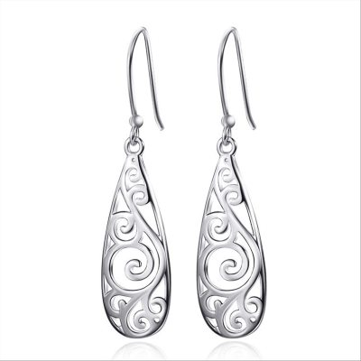 Hollow Out Engrave Pattern Simple Water Drop Shape Earring for Vintage Ethnic Style Earrings
