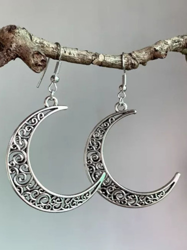Vintage Moon Drop Earring for Women Hollowed Design Antique Silver Color Earrings Gifts