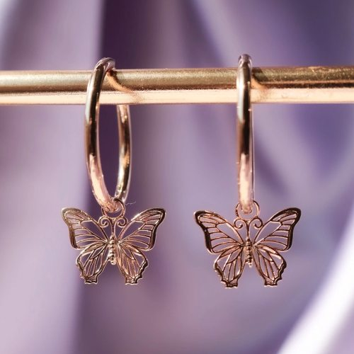 Romantic Butterfly Drop Earrings for Women Rose Gold Color Hollowed-out Design