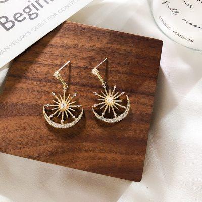 Trendy Crystal Dangle Earrings Solar Moon Crystal Earrings Bohemian Earrings