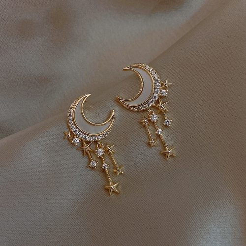 Trendy Moon Dangle Earrings Temperament Fashion Geometric Gold Color