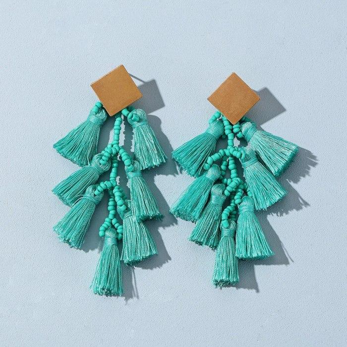Cotton Drop Earrings for Women Bohemian Style Long Tassel Dangle Earrings