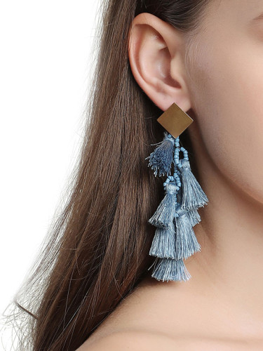 Cotton Drop Earrings for Women Bohemian Style Long Tassel Dangle Earrings