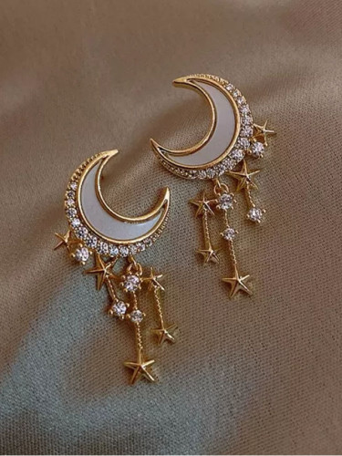 Trendy Moon Dangle Earrings Temperament Fashion Geometric Gold Color