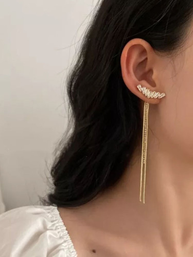 Fashion Zircon Drop Earrings For Women Elegant Rhinestone Tassel Long Dangle Earrings