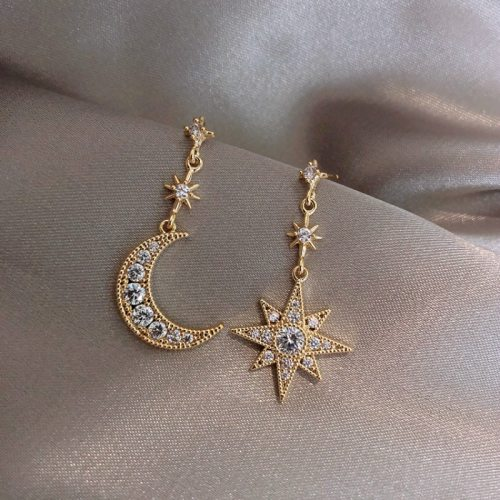 Crystal Trendy Women Dangle Earrings Star-moon Asymmetric Earrings Drop Earrings