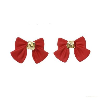Simple Black Bow Stud Earrings For Women Students Sweet Fashion Metal Jewelry