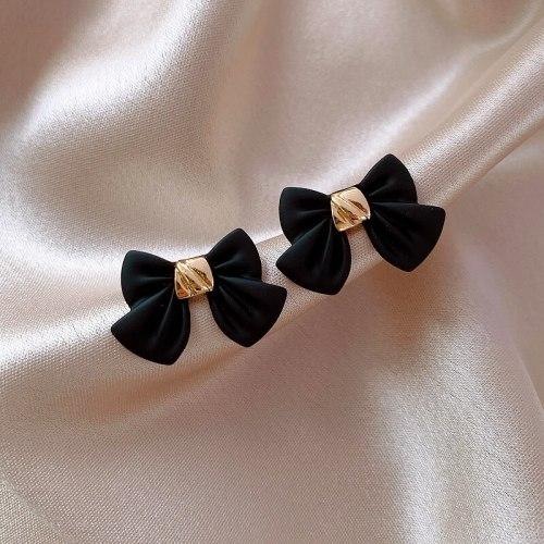 Simple Black Bow Stud Earrings For Women Students Sweet Fashion Metal Jewelry