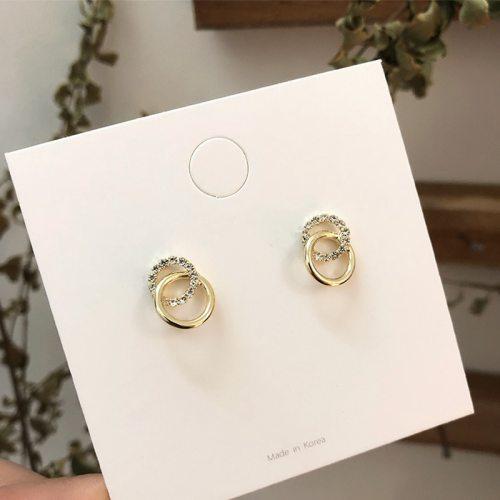 Simple Double Circle Gold Color Metal Rhinestone Drop Earrings