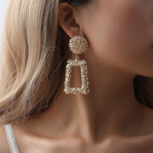 Vintage Earrings Large for Women Statement Earrings Geometric Gold Metal Pendant Earrings