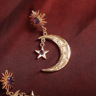 Romantic Star Moon Women Drop Earrings Brilliant Purple Color Cubic Zircon Earrings