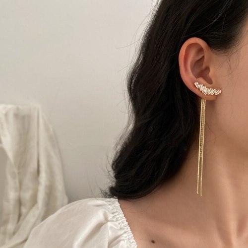Fashion Zircon Drop Earrings For Women Elegant Rhinestone Tassel Long Dangle Earrings