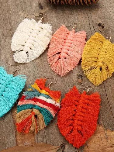 New Design Bohemian Style Leaf Shape Tassel Earrings Fashion Dangle Drop Earrings