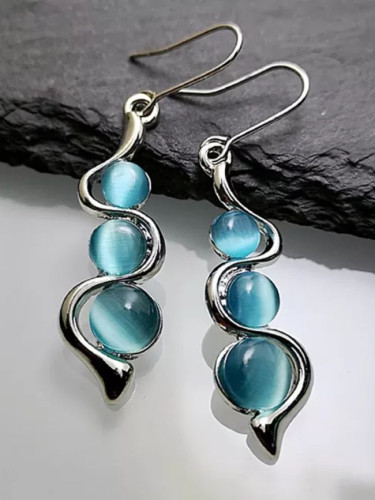 Fashion Beaded Earrings Blue Moonstone Dangle Long Silver Color Twist Hook Earring