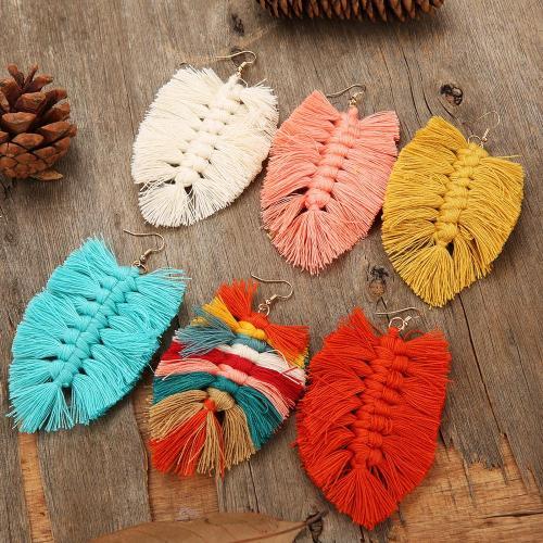 New Design Bohemian Style Leaf Shape Tassel Earrings Fashion Dangle Drop Earrings