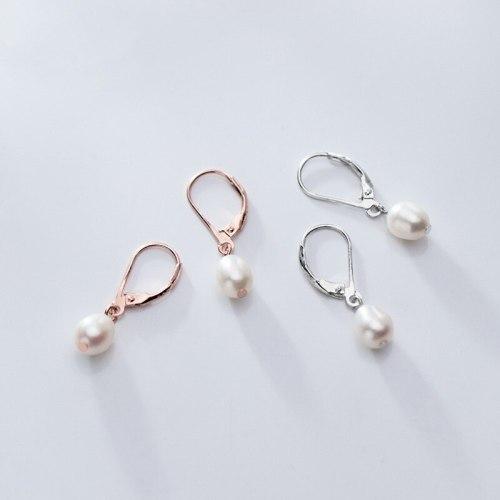 925 Sterling Silver Sweet Elliptic Pearl Hoop Earring